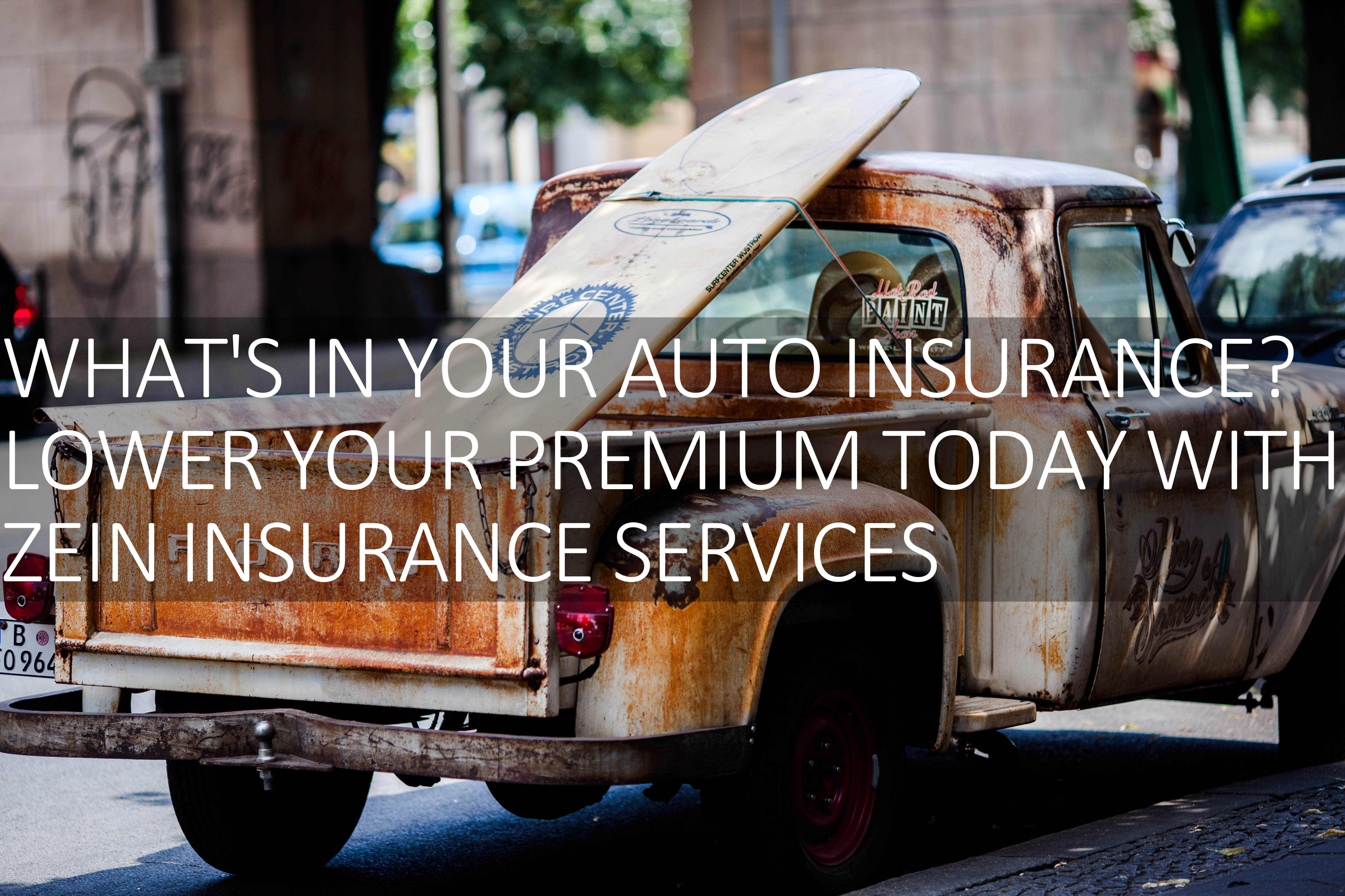 Home page, Zein Insurance, Auto Insurance, Truck Insurance, Accident Insurance, surfboard